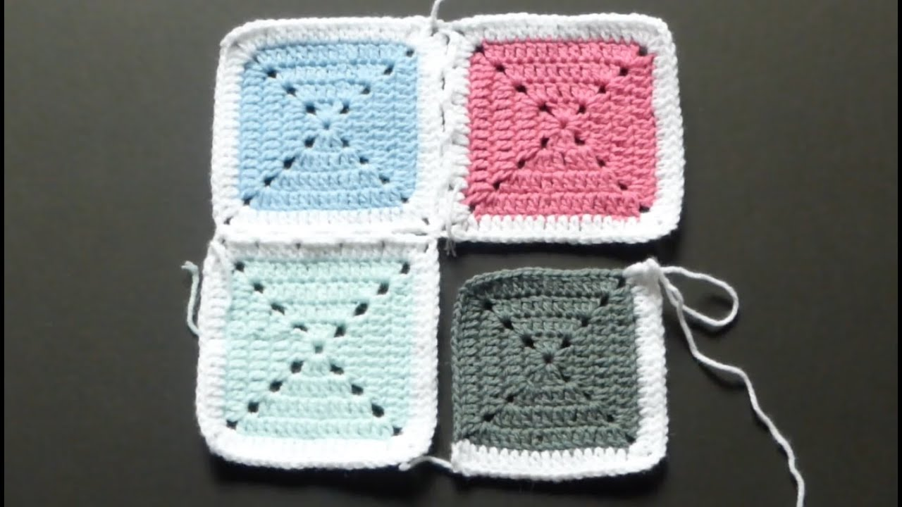 Crochet Along  Attaching Granny Squares With Single Crochet  Version #2  (4right Handed)