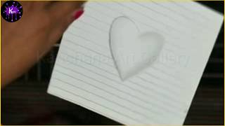 3D heart drawing on line paper: Video-06