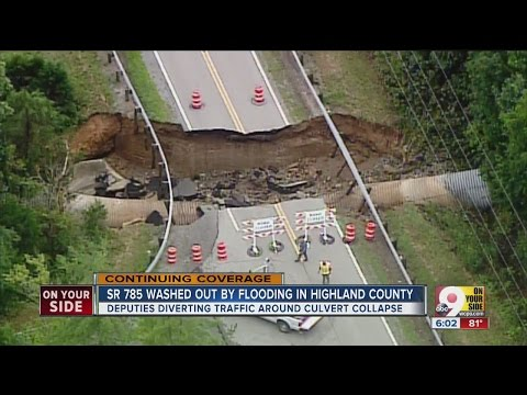 S.R. 786 washed out by flooding in Highland County