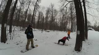Кадры с обучения сноуборду
