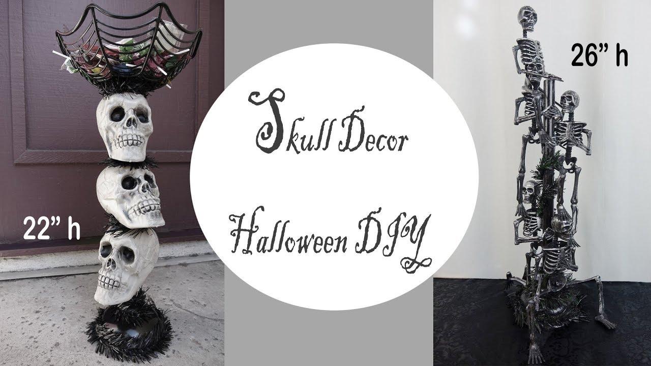 Halloween Skull Decorations.Halloween Decor Skull Candy Stand Dollar Store Diy Youtube