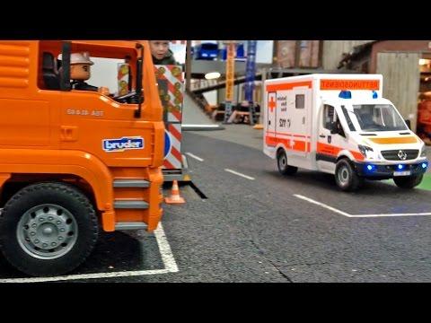 BRUDER AMBULANCE 🚑 TOY Kids Bruder Trucks Videos for CHILDREN Garbage TRUCK