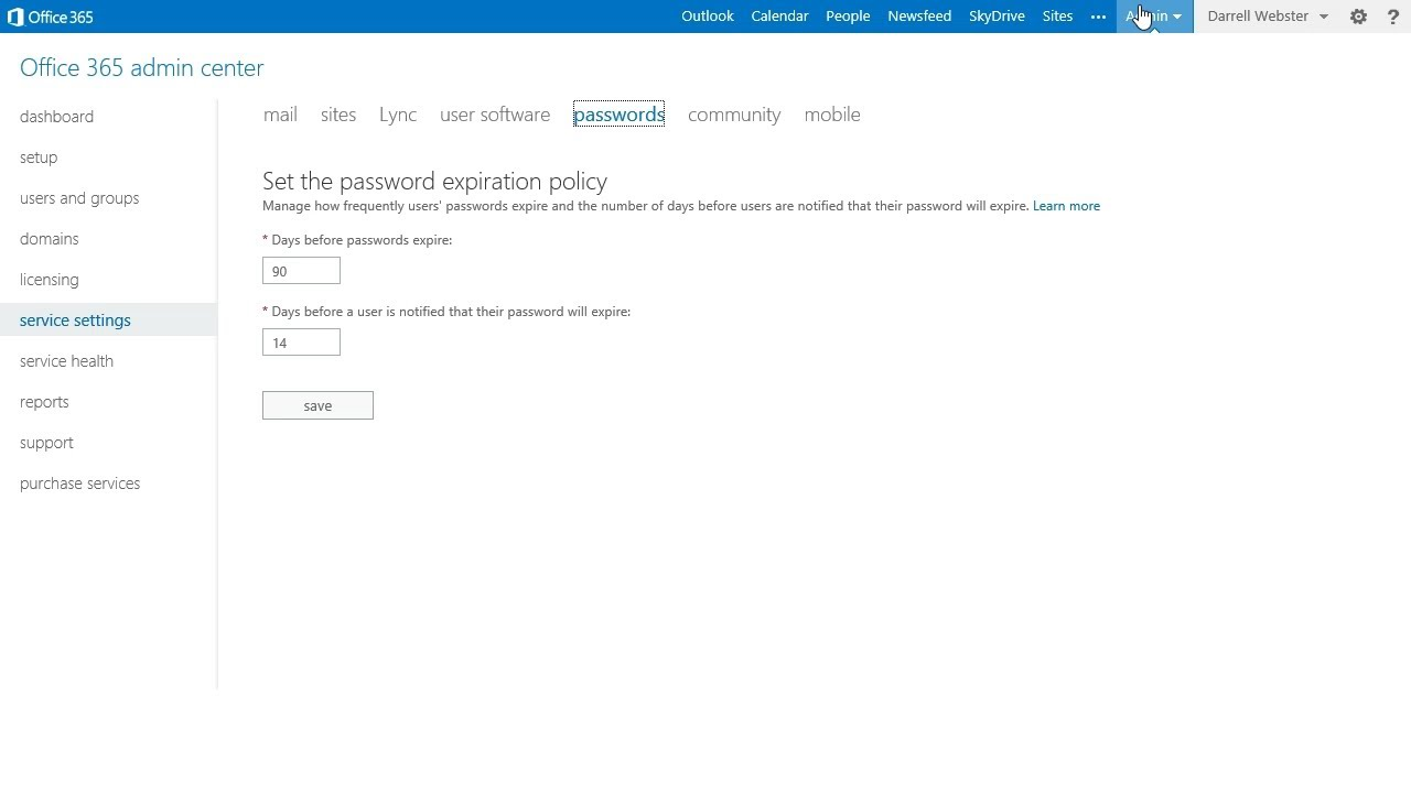 Office 365   Change Your Password Expiry From The Admin Portal   YouTube