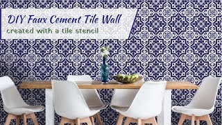 How To: DIY A Faux Cement Tile Wall Created With A Tile Stencil