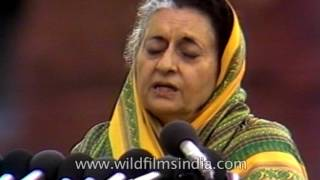 Indira Gandhi gives a speech (Hindi): archival footage from 1982