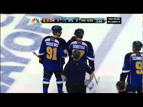 Brian Bickell knee on Vladimir Sobotka Chicago Blackhawks vs St. Louis Blues 4/19/14 NHL Hockey.