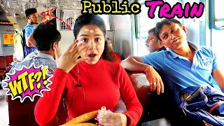 I did My Makeup on a *Local TRAIN* in Public | *shocked* reaction 😱😜