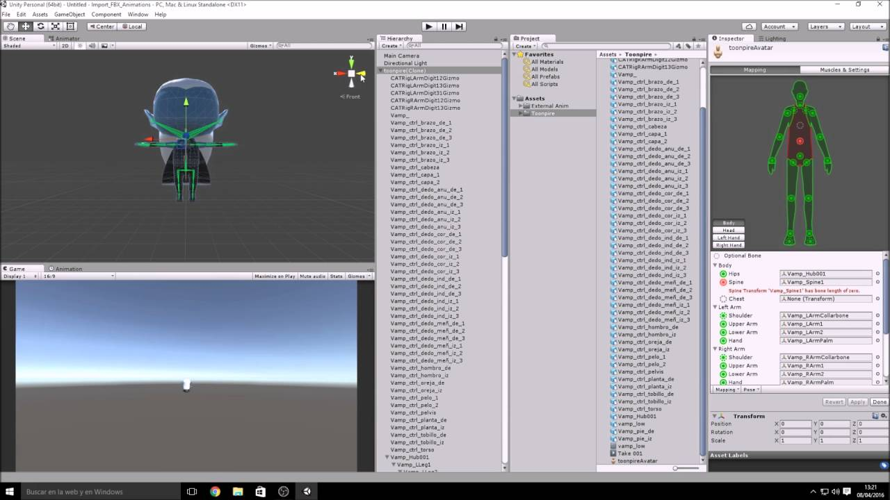 How to Import and Animate FBX file on Unity 5