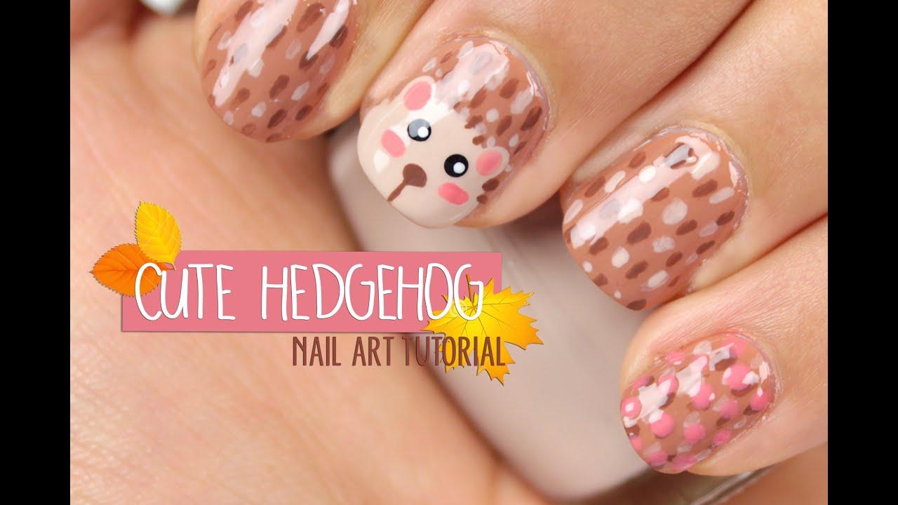 Hedgehog Nail Art Creativenailart Youtube