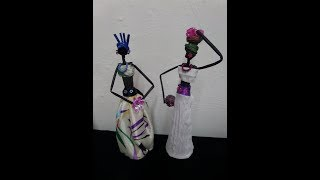 How to make Newspaper doll | African doll making/ Gazeteden afrika bebeği yapmak