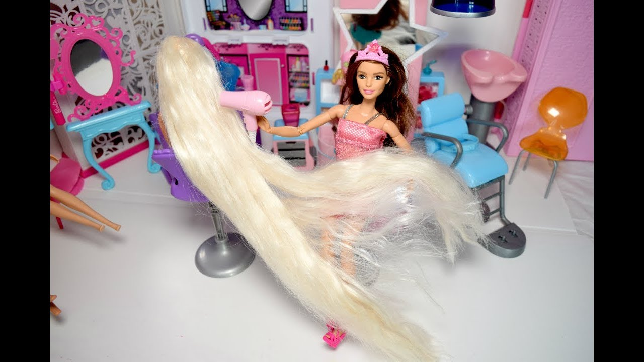 Barbie Long Long White Hair Hair Salon Rapunzel