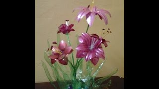 Best Out Of Waste Plastic bottles transformed to lovely lily plant Showpiece
