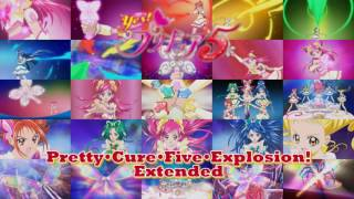 The theme that plays while the team from Yes! Pretty Cure 5 uses Pretty Cure 5 Explosion extended for 30 minutes. (sorry about the logo in the image being ...