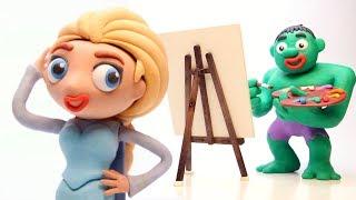 Hulk painting Elsa stop motion play doh superhero funny video for kids