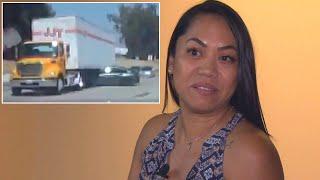 Woman Says She's Lucky to be Alive After BMW Was Dragged Under Tractor Trailer