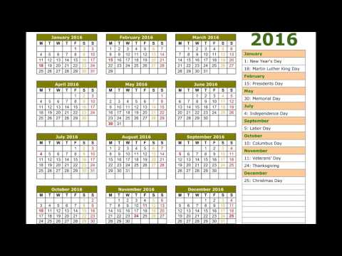 2016 calendar - YouTube