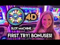 Trying the NEW Wheel of Fortune 4D Slot Machine! BONUSES!!
