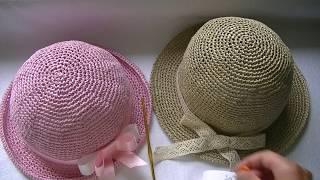 Вяжем шляпку из рафии крючком.