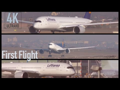 BREAKING: First Flight Lufthansa A350-900 at Stuttgart (4K/UHD)
