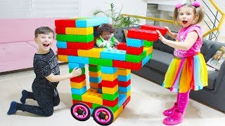 Ali is making baby Stroller for little sister  with Color Block Toys Fun Kid Video