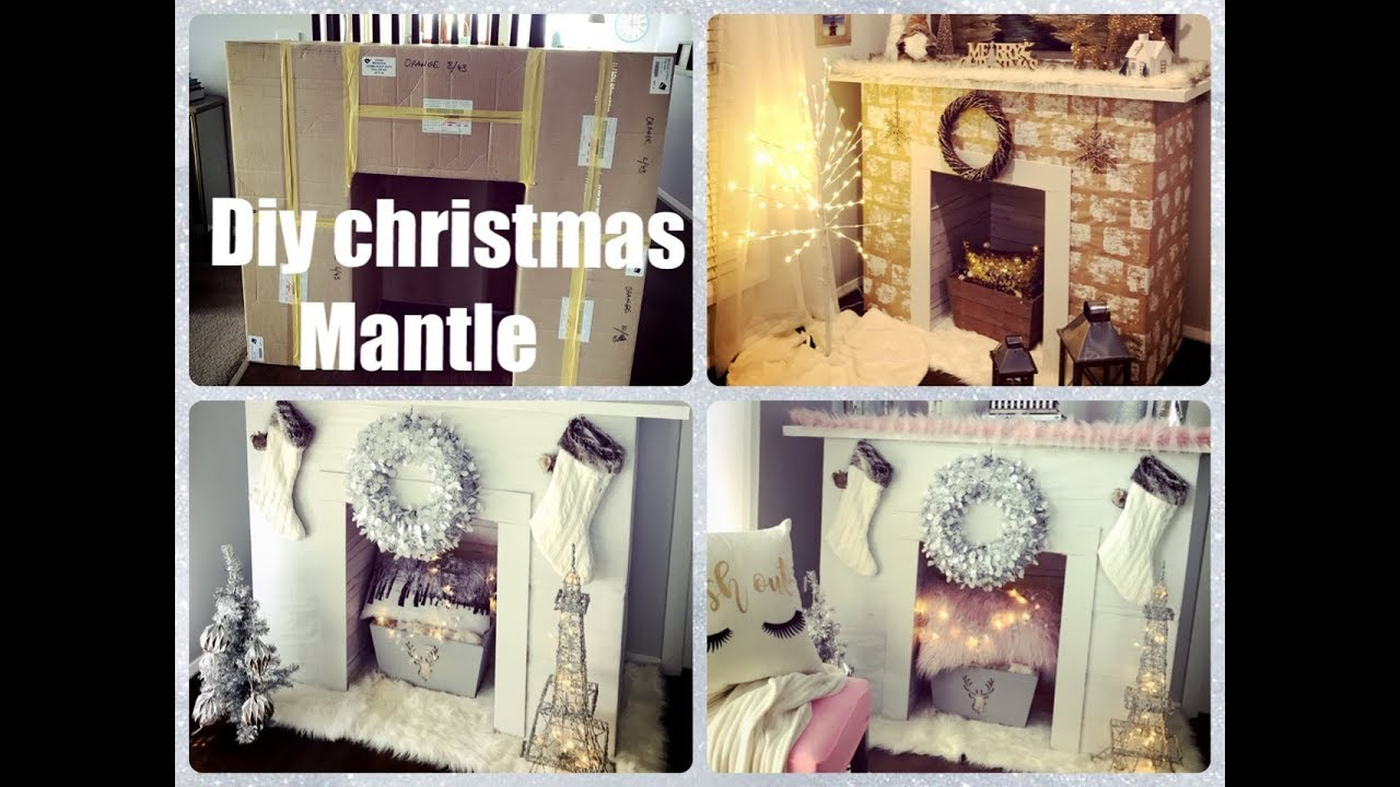 diy glam christmas faux fireplace mantle out of boxes youtube