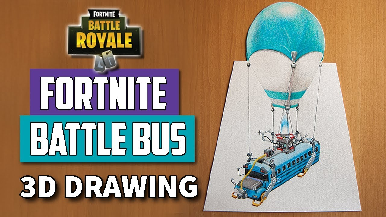 3d Drawing Fortnite Battle Bus Drawing Time Lapse Youtube