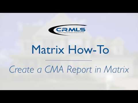[Matrix How-To] Create a CMA Report in Matrix