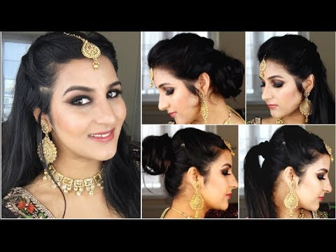 6 Quick And Easy 1 Min Indian Wedding Guest Reception Hairstyles Maang Tikka Hairstyles