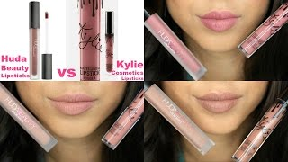 Kylie cosmetics vs huda beauty liquid lipsticks - lip swatches & comparison