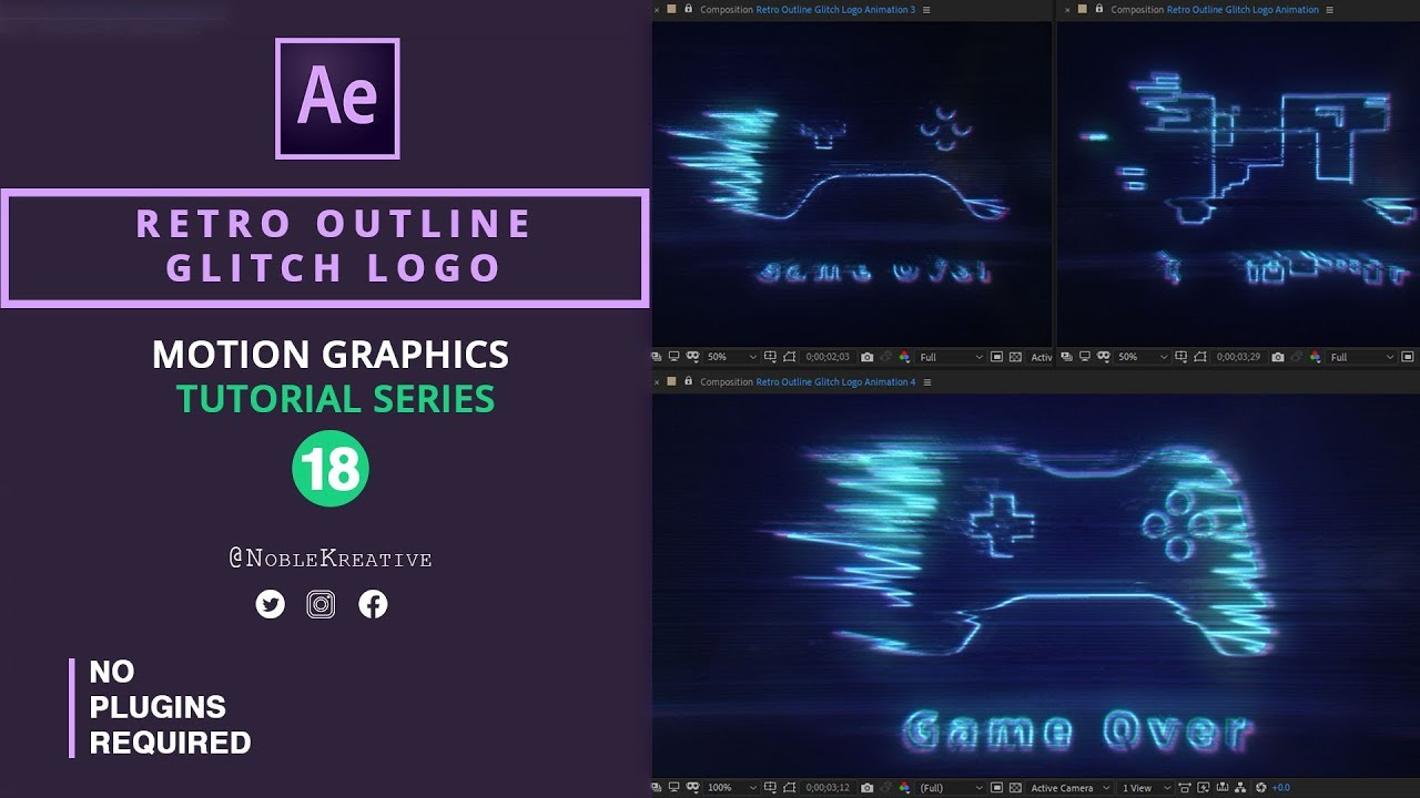 Retro Outline Glitch Logo Animation in After effects | No Plugins