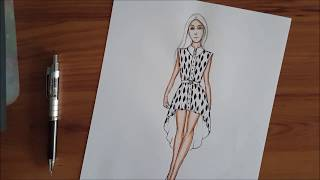 Fashion Illustration : How to draw high low women blouse