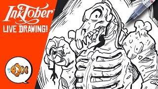 Drawing D'COMPOSE from Inhumanoids | Inktober Drawing Livestream Day #12