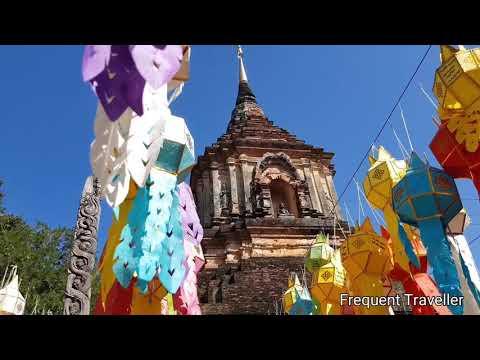 Loy Krathong And Yi Peng Festival Chiang Mai Thailand - Wat Lok Moli Buddhist Temple Monks Chanting.
