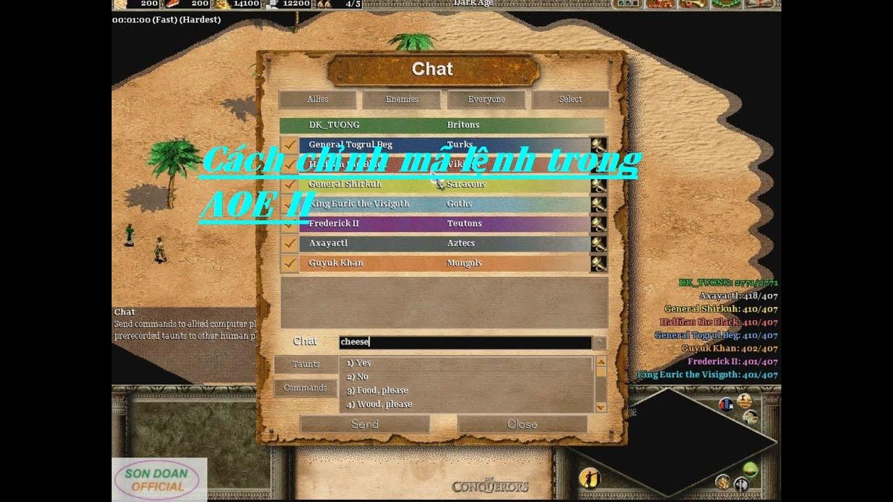AOE II| Cách chĩnh mã lệnh trong đế chế 2
