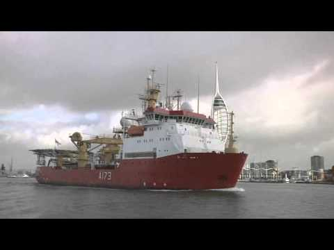 Ice Patrol Ship HMS Protector leaving Portsmouth - 17th October 2013
