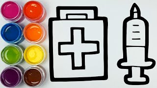 Coloring Medical Instruments Painting for Children and drawing for Kids, Toddlers