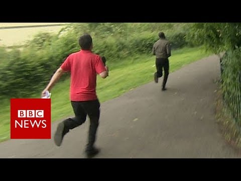 Post fraud gang member flees in confrontation with BBC reporter - BBC News
