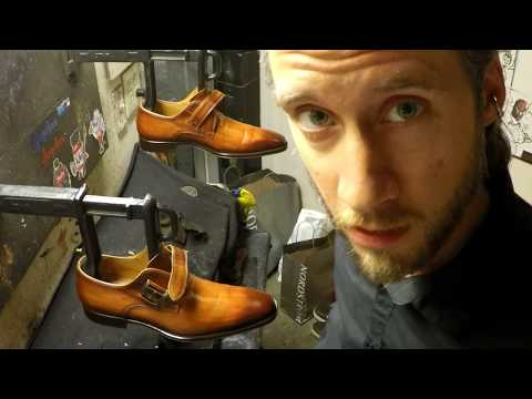Buried in shoes, ASMR, best shoe shine, burnish job