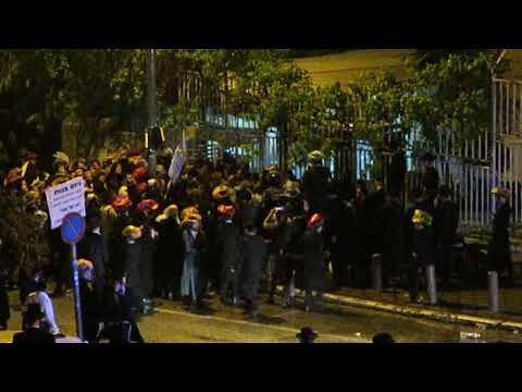 Israeli Police Shooting Water Cannon on Protesters, Jerusalem April 15/18  Part 2