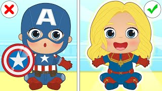 BABY LILY Dresses up as Captain Marvel 💥 Cartoons for Kids