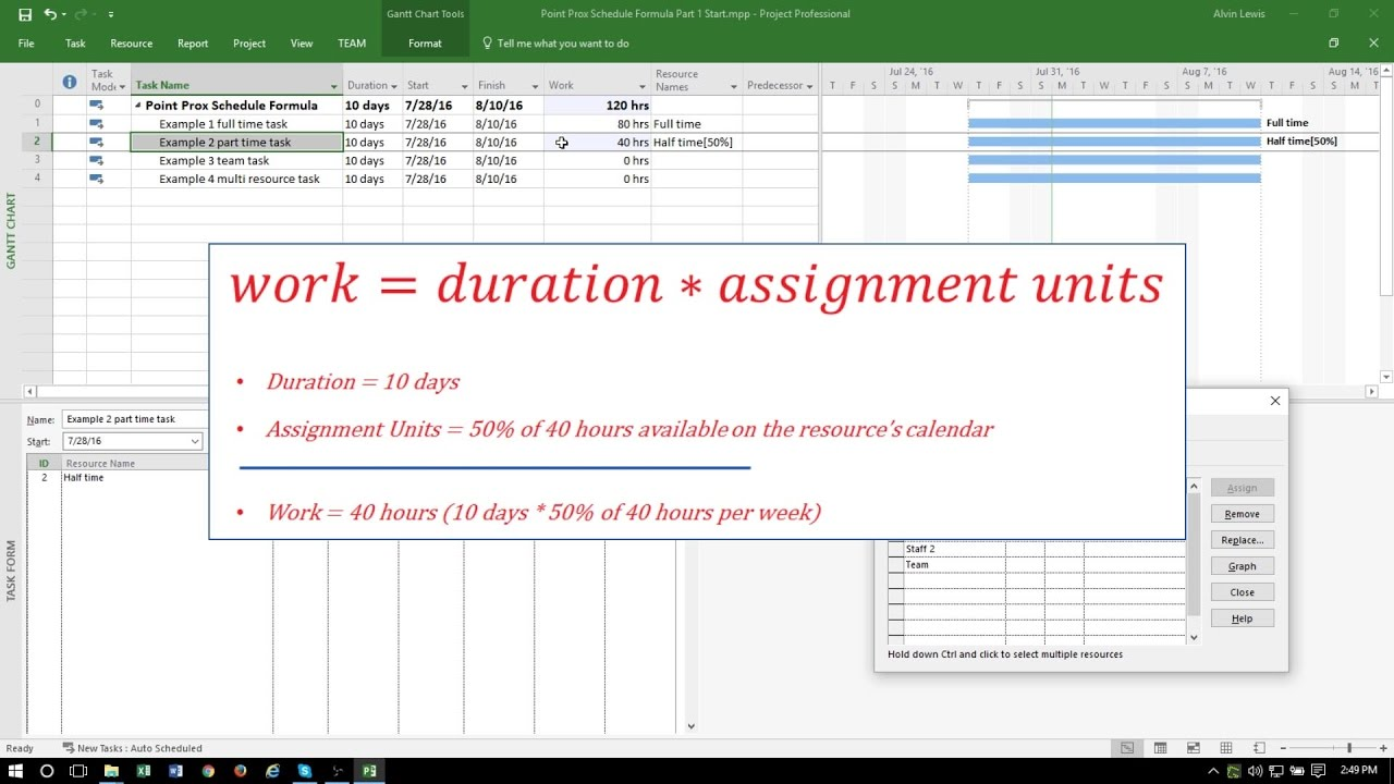 MS Project 2016 Tutorial: The Scheduling Formula Part 1  Example Project Schedule
