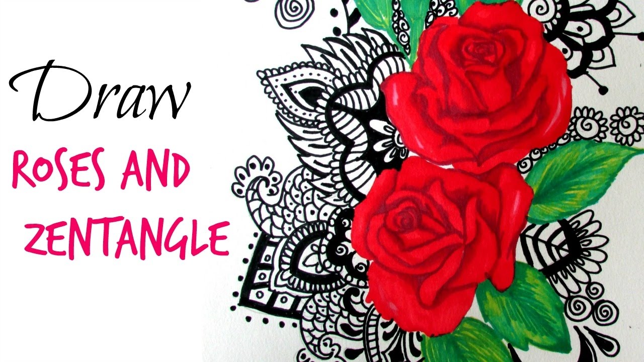How To Color Rose With Zentangle Art Youtube