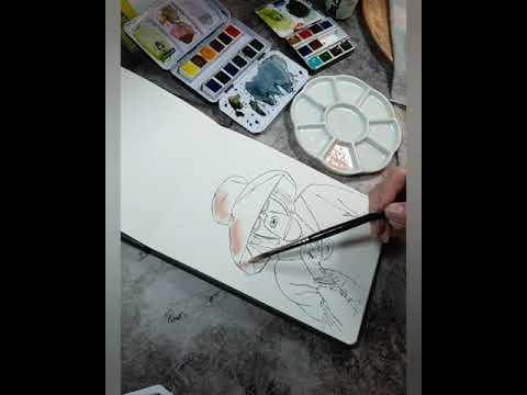 Watercolor Sketching Dame mit Rotweinglas