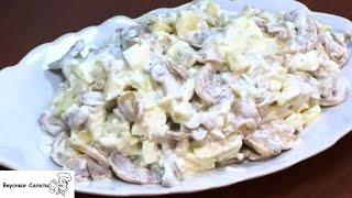 Салат с грибами, картофелем и огурцами