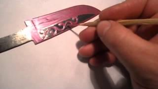 Травление узора на ноже методом электролиза.(Подобные видео в youtube уже есть давно, просто захотелось повторить..., 2013-03-10T15:35:34.000Z)