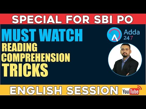READING COMPREHENSION TRICKS FOR SBI PO - MUST WATCH