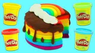 Play Doh Beautiful Rainbow & Rose Chocolate Layer Cakes | Fun & Easy DIY Play Dough Arts and Crafts!