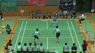 船越/今川(松徳学院中) vs 鶴岡/安田 (猪苗代中) 男子団体2回戦 全中バド2016