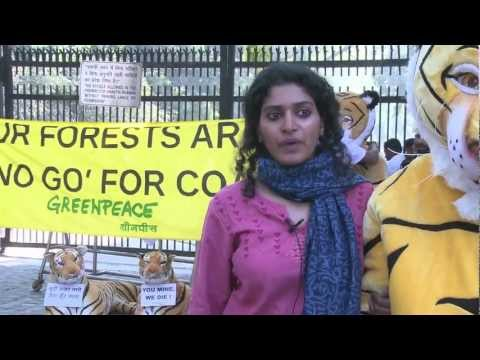 Protest against mining forest lands at the Coal Ministry's office