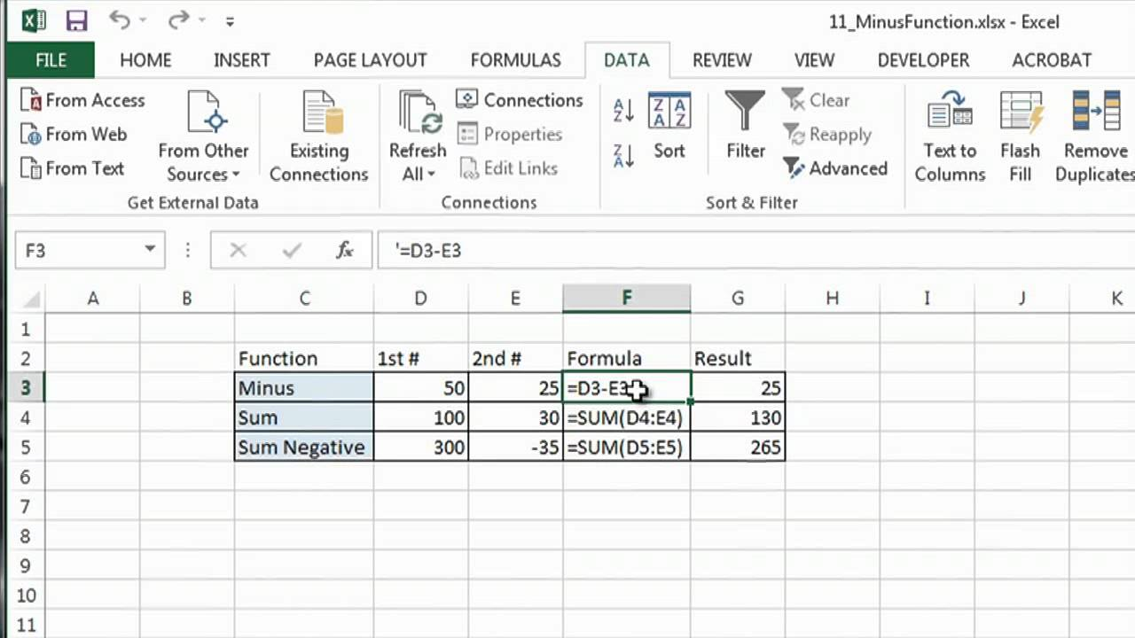 how to use minus function in excel ms excel tips youtube
